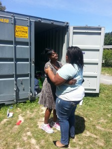 A friend (right) offers some comfort to Theresa Bowick after learning that her non-profit organization, the Conkey Cruisers had been burglarized.