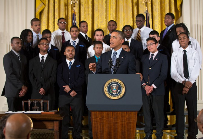 """President Barack Obama delivers remarks at an event to highlight """"My Brother's Keeper,"""" an initiative to expand opportunity for young men and boys of color, in the East Room of the White House, Feb. 27, 2014. (Official White House Photo by Pete Souza)"""