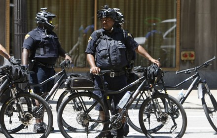Hundreds of law enforcement officers from around the  nation fill downtown Cleveland to monitor protestors during the Republican  Nationl Convention.  So far, the increased force has worked. PHOTO: Milbert  Brown, Howard University News Service
