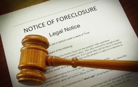 Home Foreclosure document and legal gavel
