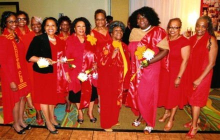 Left to Right Back Row:  Alicia Ward, Kim Wynn, Rev. Dr. Iris Banister (Northeast District Governor), Marie McCullough, Julia Wilson, Millie Fisher, Jamiylah Miller---Front Row Left to Right:  Adine Demond*, Martha Hope, Midge Thomas, Tracie Isaac* (*inducted members).