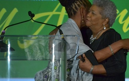 Incumbent Denise Rolark Barnes and Dorothy Leavell embrace after Leavell is announced winner of the NNPA chair's election. PHOTO: Roy Lewis