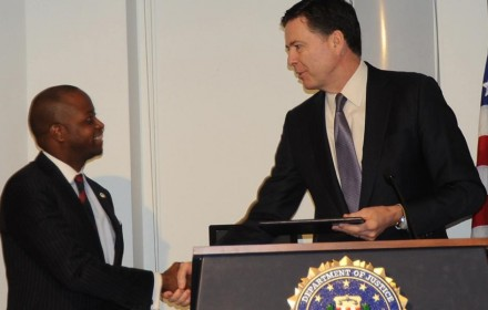 Howard University President Wayne A.I. Frederick welcomes former FBI Director James Comey as convocation speaker and endowed chair of public policy. PHOTO: Howard University