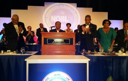 Assistant Police Chief Perry Tarrant, surrounded by members of NOBLE. PHOTO: NOBLE website