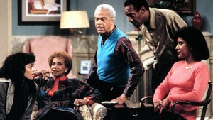 """The Cosby Show"" cast members Lisa Bonet, Clarice Taylor, Earle Hyman, Bill Cosby and Phylicia Rashad on set."