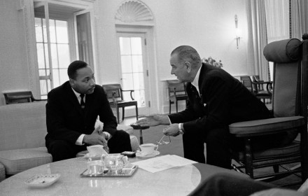 Dr. Martin Luther King Jr. in Oval Office with President Lyndon B. Johnson