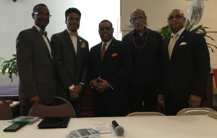 Photo (L to R):  Student Min. Kenneth Muhammad, A'Ynde Muhammad, Student Minister Carlos Muhammad, Dr. John S. Walker, Event Chairman; Relton Roland.