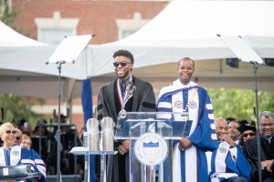 Howard University Commencement Speaker Chadwick Boseman takes it all in during the 2018 Commencement Ceremony on Saturday, May 12, 2018 in Washington, D.C. PHOTO: Courtesy