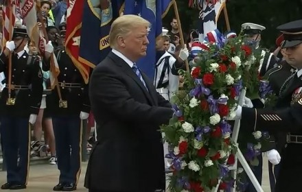 President Donald Trump laying wreath at the Tomb of the Unknown Soldier. Photo Screenshot