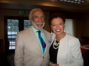 Dr. Frederick Jefferson and Rachel Adonis pose for photo at a recent TNT reception