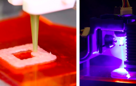 On the left, raw chicken is deposited by a food printer, and on the right, a blue laser beam is directed at a raw sample of chicken. (Jonathan Blutinger/Columbia Engineering)