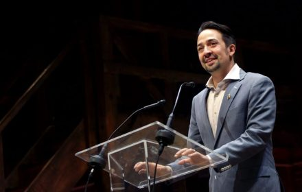"""strongLin-Manuel Miranda addresses the audience after a performance of """"Hamilton"""" at the Richard Rodgers Theater on July 12, 2016. The Disney+ version of the play won the Outstanding Pre-Recorded Variety Show Emmy. (Yana Paskova/Getty Images)/strong"""