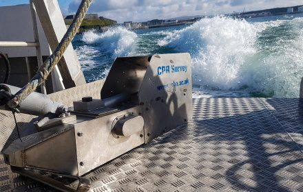 The Continuous Plankton Recorder (CPR) is fitted with silk meshes and towed in surface waters similar to the spaces occupied by marine mammals. (Marine Biological Association/Zenger)